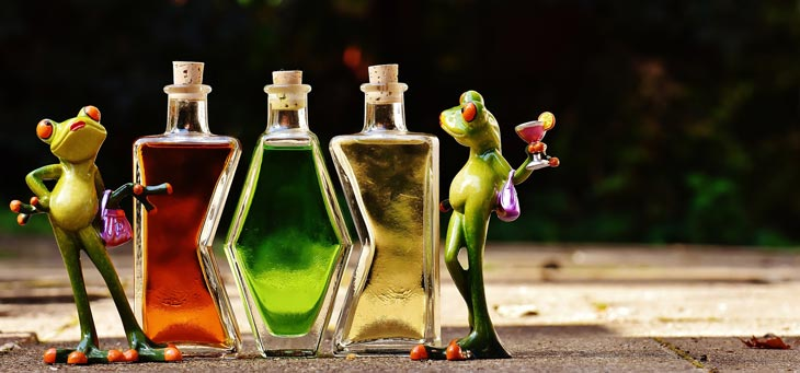 frog with bottle
