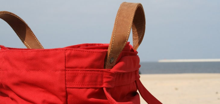 red bag in beach